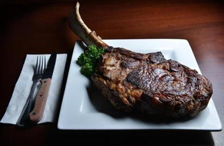 Tomahawk Delmonico Steak, which is more than three pounds of steak on the bone.